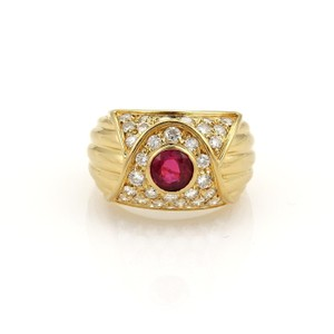 Piaget 1.65ct Diamond & Ruby 18k Yellow Gold Fancy Dome Band Ring Size 7