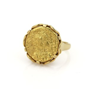 Piaget Salvador Dali 22k Gold Intricate Carved Coin 18k Yellow Gold Ring