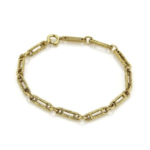 Piaget Vintage 18k Yellow Gold Rough Textured Oval Link Bracelet