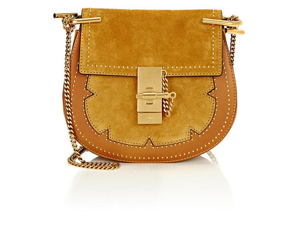 dbb9eb65df0 Chloé Drew New Chain Embellished with Micro-dome Stud Yellow Suede Cross  Body Bag