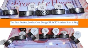 NWT LOOK AT PICTURES SIZE RING - YOU PICK ONE RING Fashion Jewelry Cool Design BLACK stainless steel ring
