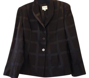 Armani Collezioni Wool Checkered Italian Black Blazer
