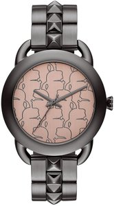 Karl Lagerfeld Karl Lagerfeld Women's Gunmetal-Tone Stainless Steel Studded Bracelet Watch 40mm
