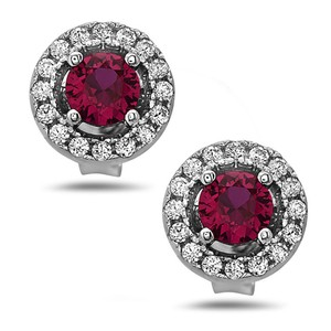Crush & Fancy 925 Sterling Silver Women's Red Crystal Stud Earrings