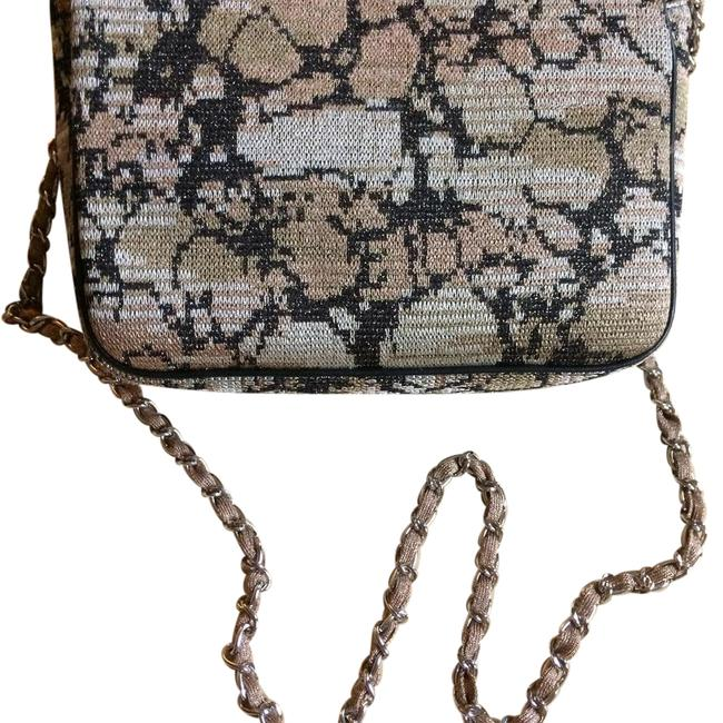 Item - Clutch / Black with Light Golden Yellow In Silver Hardware Chain Shiny Fabric Leather Piping On The Sides Cross Body Bag