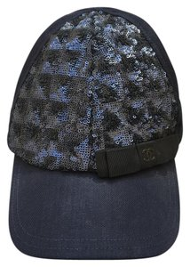 Chanel CHANEL Hat Baseball Cap Navy Blue Sequin
