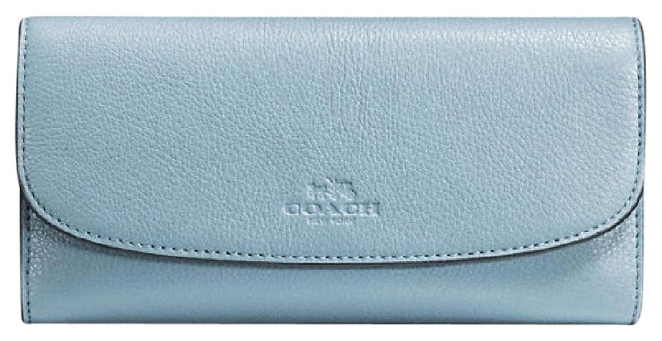 6c6821c90a3ce Coach Cornflower Checkbook In Pebble Leather Wallet - Tradesy