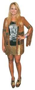 Haute Hippie & Silver Sequined Silk Mini Skirt Gold