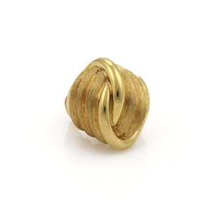 Henry Dunay Designs 18k Yellow Gold Large Dome Knot Design Textured Ring Size 6
