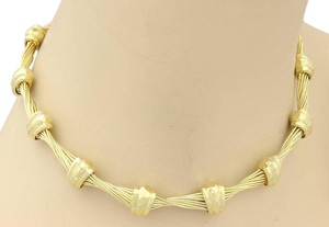 Henry Dunay Designs 18k Yellow Gold Twisted Wire & Hand Hammered Design Choker Necklace