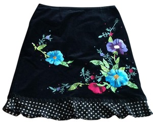 Nanette Lepore Skirt black camel and colorful embroidery