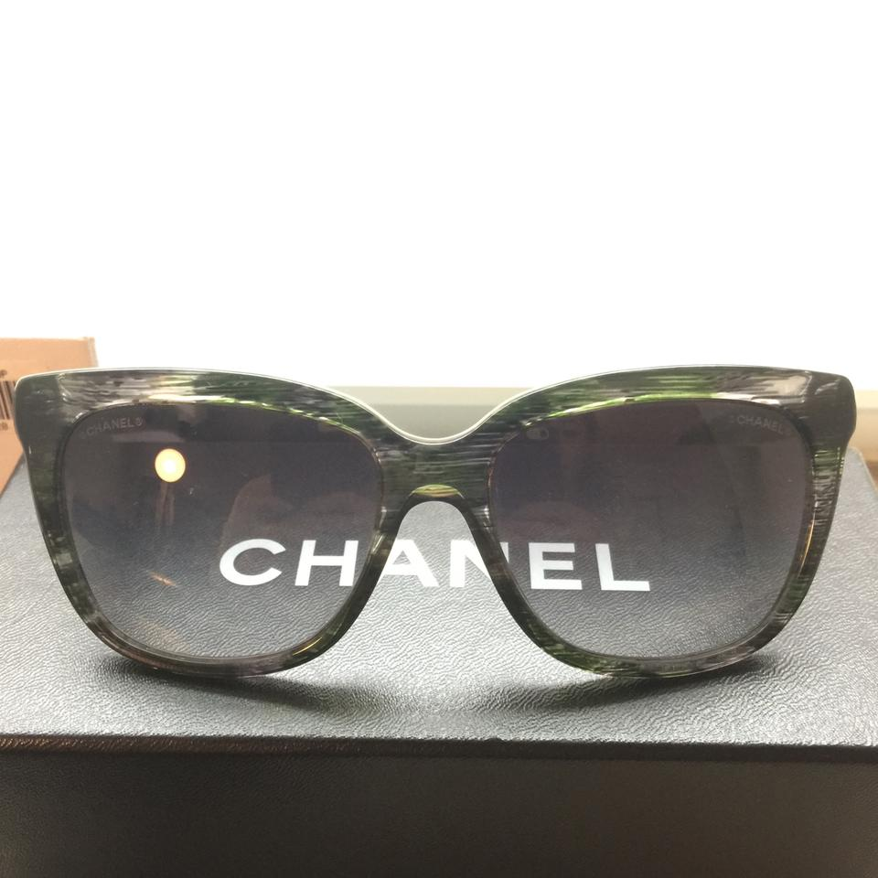 735641f1d57fa Chanel 5343 1553 S6 Black Green Quilted Denim Sunglasses Image 11.  123456789101112