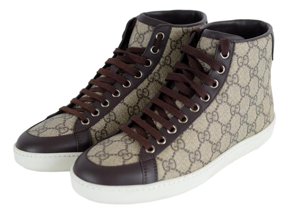 c0273afc194 Gucci Beige Cocoa 323796 Women s Brooklyn Gg High Top Sneakers Sneakers  Size US 7 Regular (M