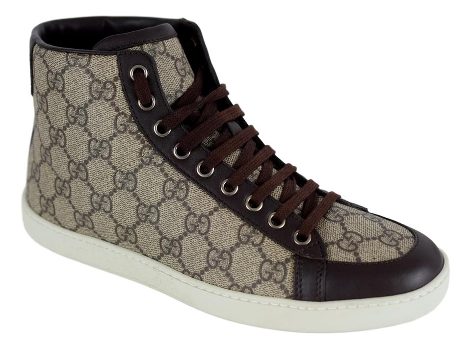 144bfe111 Gucci Beige/Cocoa Brooklyn 323796 Women's Gg Guccissima High Top Sneakers
