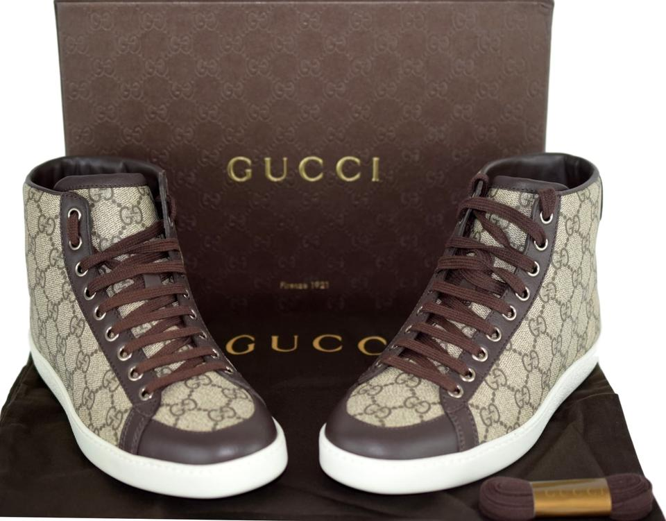 dbd12a0fc17 Gucci High Top Sneakers Beige Cocoa Athletic Image 10. 1234567891011