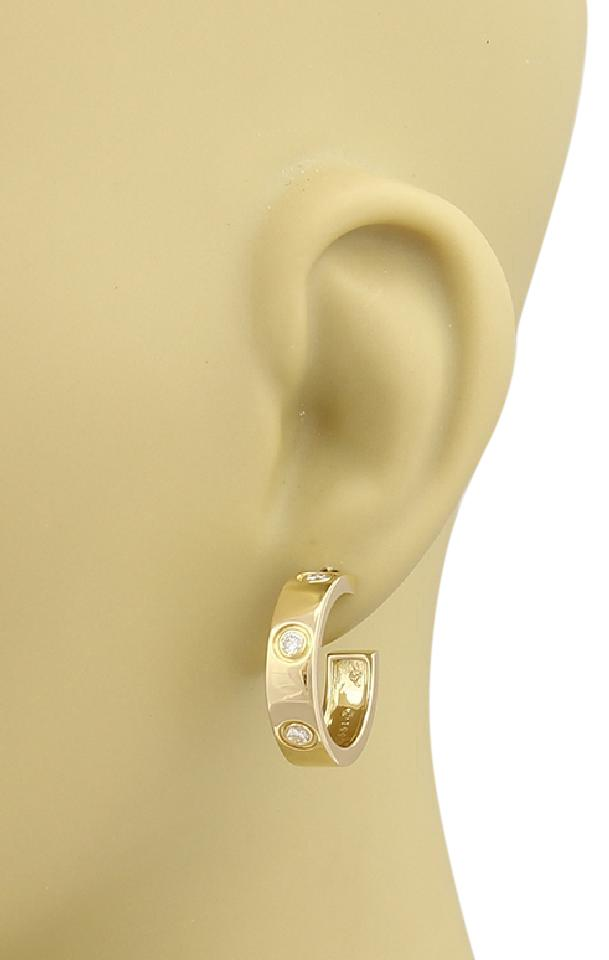 Cartier 18799 Love 6 Diamonds 18k Yellow Gold Hoop Earrings