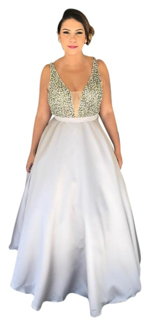 Item - Stone and Silver Ballgown Prom/ Bridesmaid 32609 Long Formal Dress Size 4 (S)