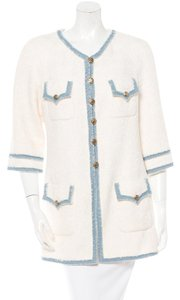 Chanel Coat Tweed White Off-White Jacket
