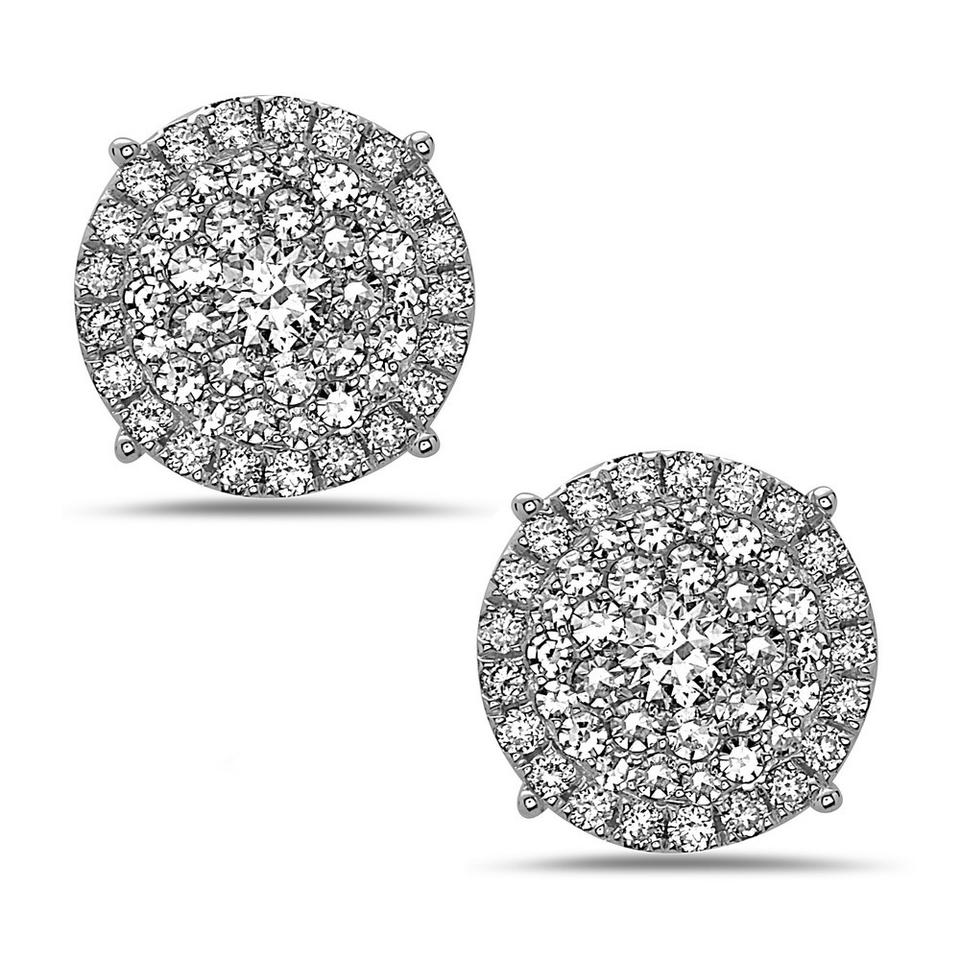 fancy sterling diamond and round stud silver white crushed crush crystal halo i women earrings s