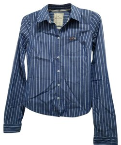 Hollister Button Down Shirt Navy Stripe Stretch