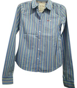 Hollister Button Down Shirt Light Blue Stripe