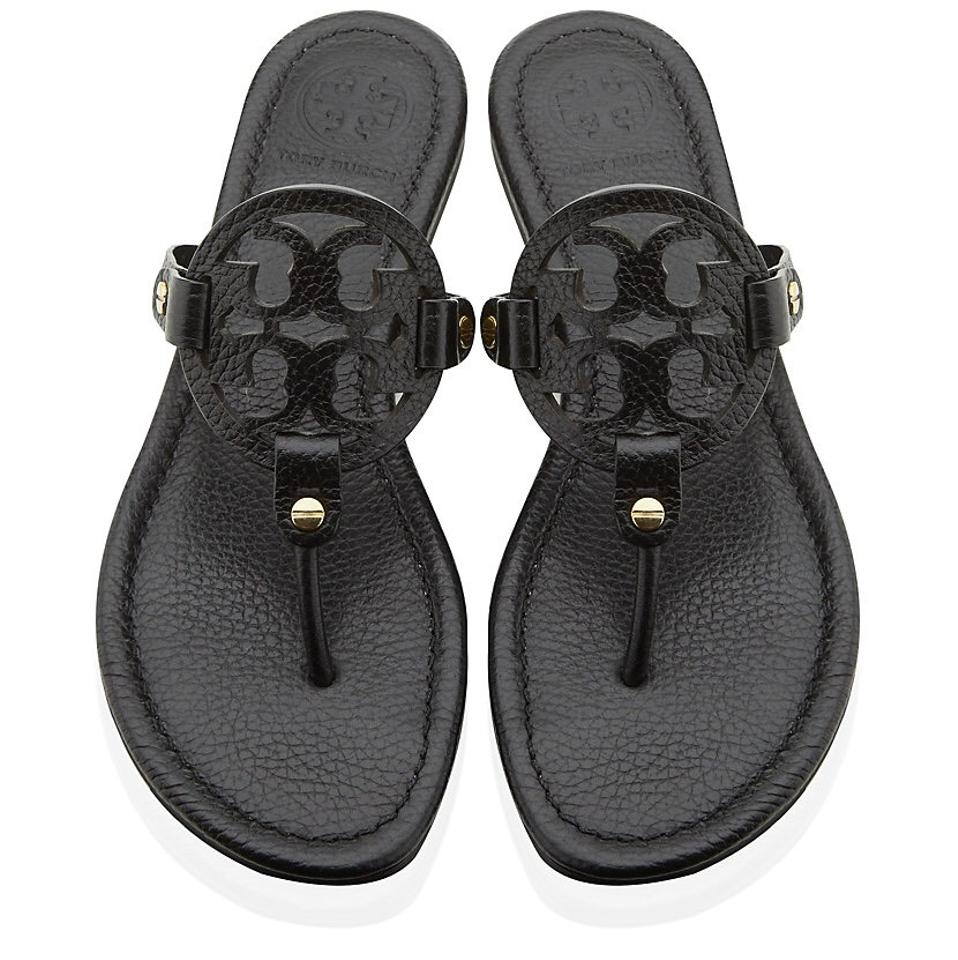 b93edead43d2 Tory Burch Black Miller Leather Sandals Size US 7 Regular (M