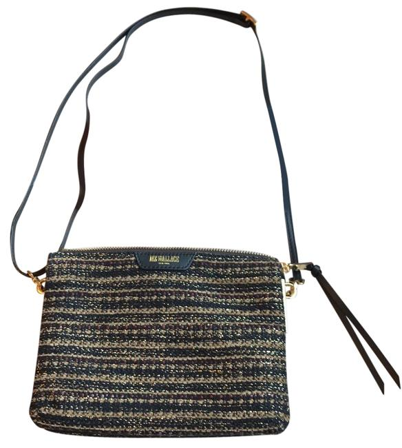 Item - Pippa Black with Brown Tan and Gold Thread Fabric Nylon Cross Body Bag