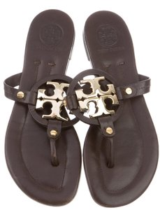Tory Burch Miller Patent Leather Reva Logo Gold Hardware Brown, Gold Sandals
