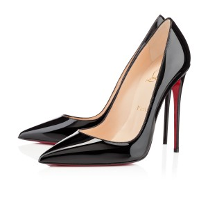 Christian Louboutin Patent Leather Pointed Toe So Kate Pigalle Red Sole Black Pumps