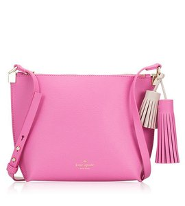 Kate Spade Cedar Street Red White Leather Foster Court Pepper Satchel in Rouge Pink Pumice
