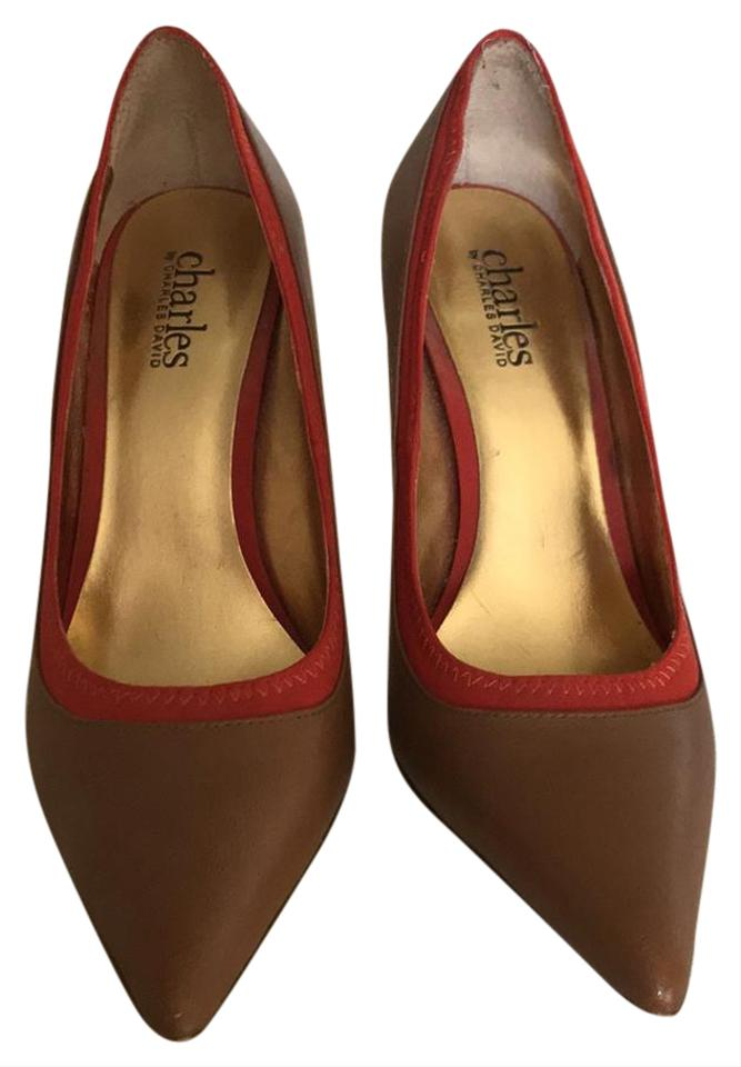 Charles and by Charles David Tan and Charles Orange Classic Pumps 8fc787
