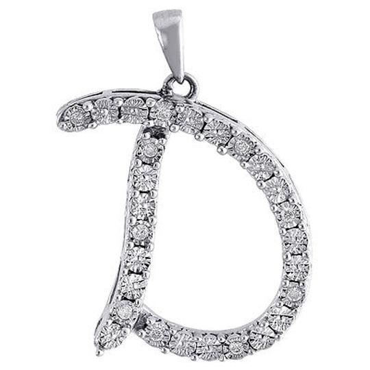 Other Diamond,Initial,D,Pendant,Sterling,Silver,Script,Charm,