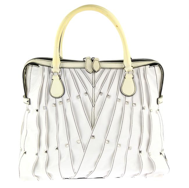 Item - Pleated Studded White Patent Leather Tote