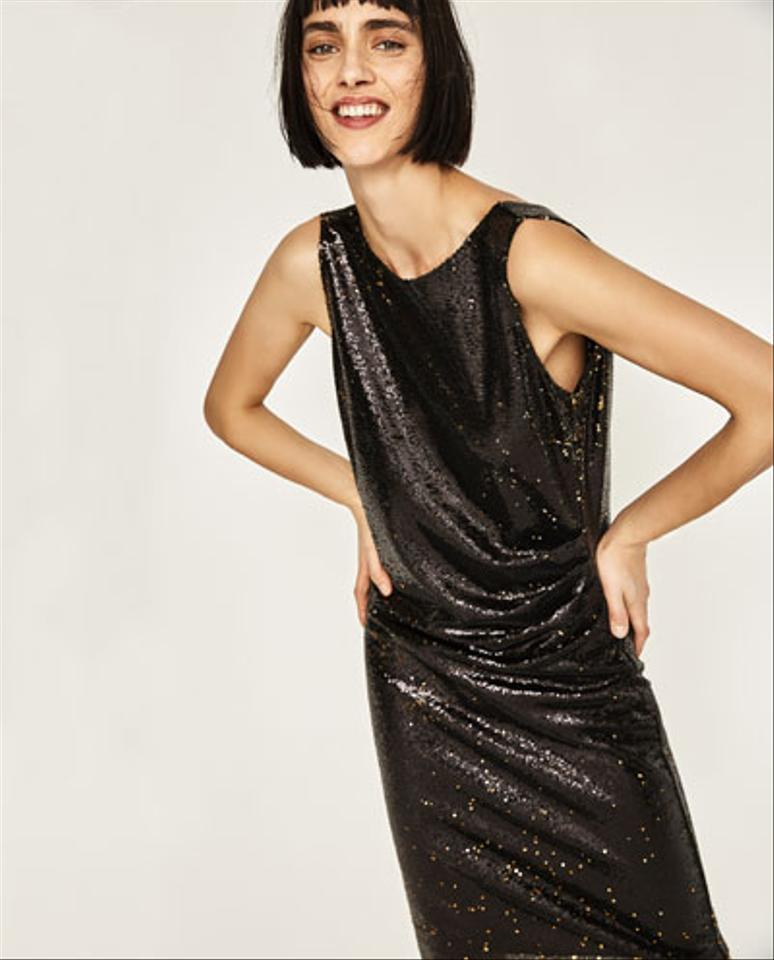 15271eb88c Zara Black Gold Sequinned Sleeveless Open Tube Mid-length Cocktail Dress  Size 6 (S) - Tradesy