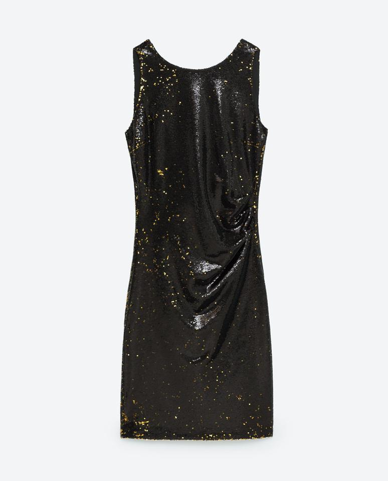 7ff8c8dfc5 Zara Black Gold Sequinned Sleeveless Open Tube Mid-length Cocktail ...