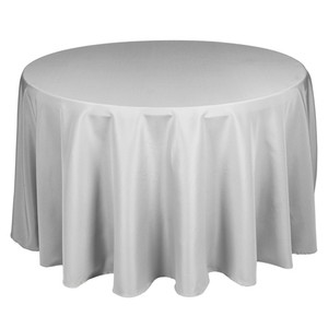 """Silver (Not Shiny)/Light Gray 120 & 136"""" Round Silver/Gray Rectangle White Tablecloth"""