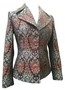 Garfield & Marks Oversized Collar 3 Button Tapestry Longsleeve Charlize Brown multi Blazer