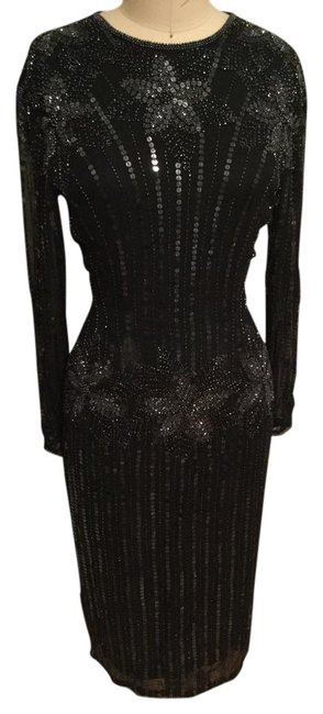 Item - Black Silk Mid-length Cocktail Dress Size 6 (S)