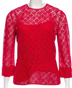 Louis Vuitton Lace Lv Monogram Logo Gold Hardware Embroidered Top Red, Gold