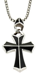 Stephen Webster RAYMAN Sterling Silver & Onyx Cross Pendant Box Chain Necklace