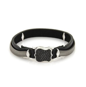 Stephen Webster Highwayman Sterling Black Sapphires & Leather Shield Bracelet