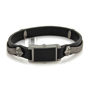 Stephen Webster Alchemy UK Sterling Darkened Silver Onyx Leather Bracelet