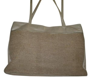 Jay Herbert New York Leather Metalic Fabric Tote in Natural
