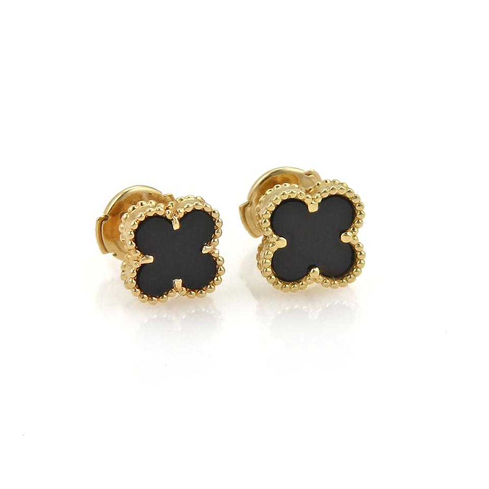 3ce3246e222e Van Cleef   Arpels 20063 - Sweet Alhambra Onyx 18k Yellow Gold Stud Earrings  Image 0 ...