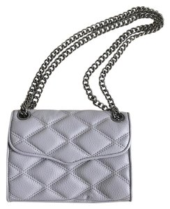 Rebecca Minkoff Leather Quilted Chain Silver Shoulder Cross Body Bag