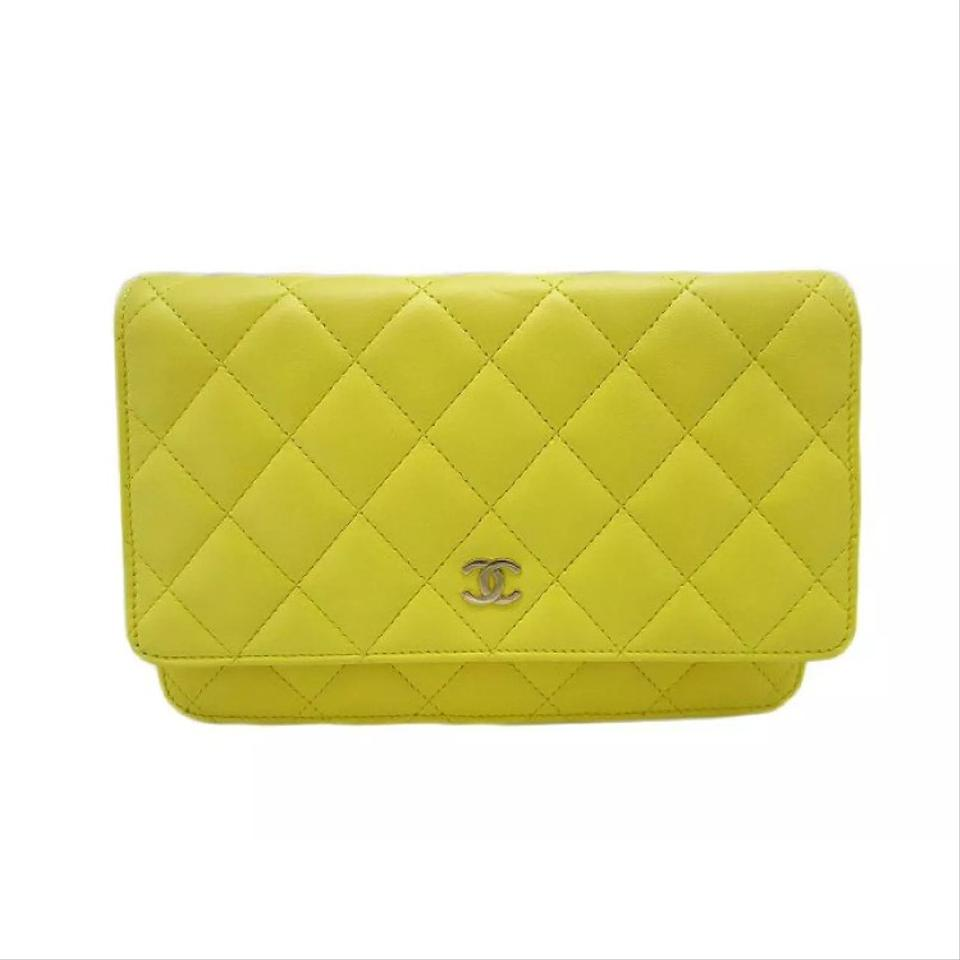 664b66cccd09c8 Chanel Timeless Quilted Woc Yellow Lambskin Leather Cross Body Bag ...