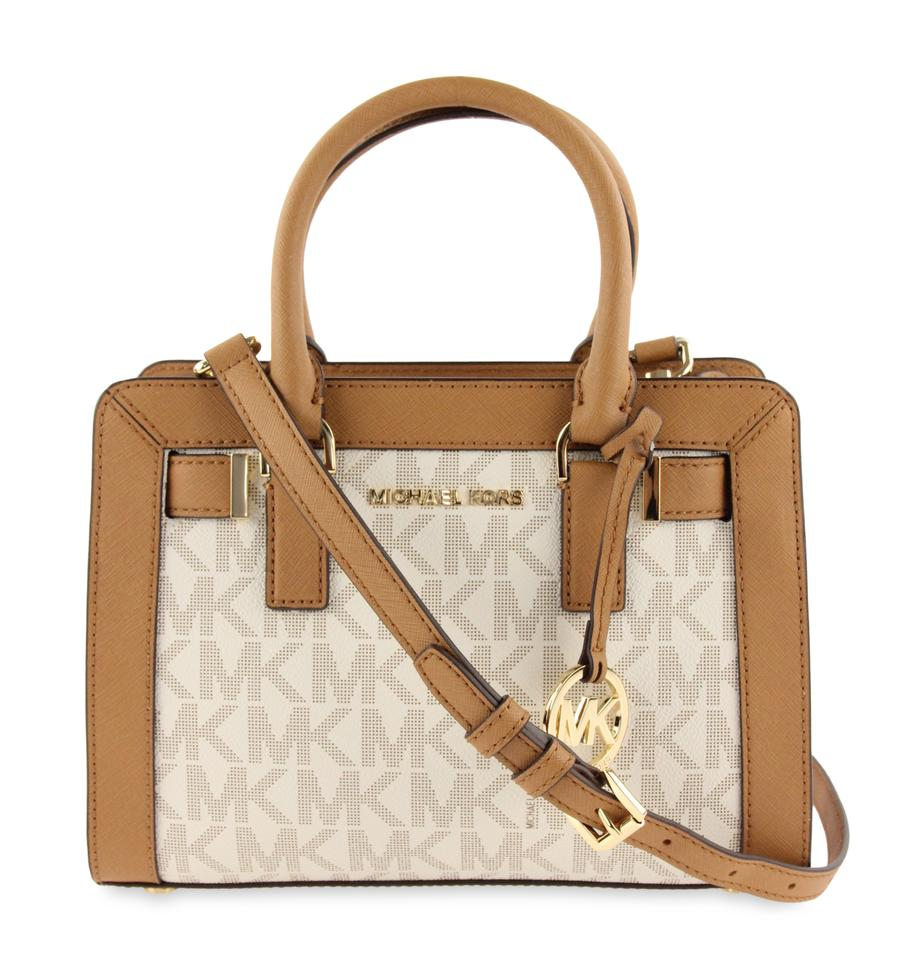 3c6f30543407 Michael Kors Dillon Small Mk Vanilla Acorn Convertible White Coated Canvas  Satchel