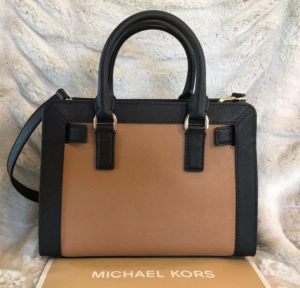 c57283ce84c4 Michael Kors Dillon Small Monogram Brown Crossbody Strap Satchel in Black  Acorn Image 9. 12345678910