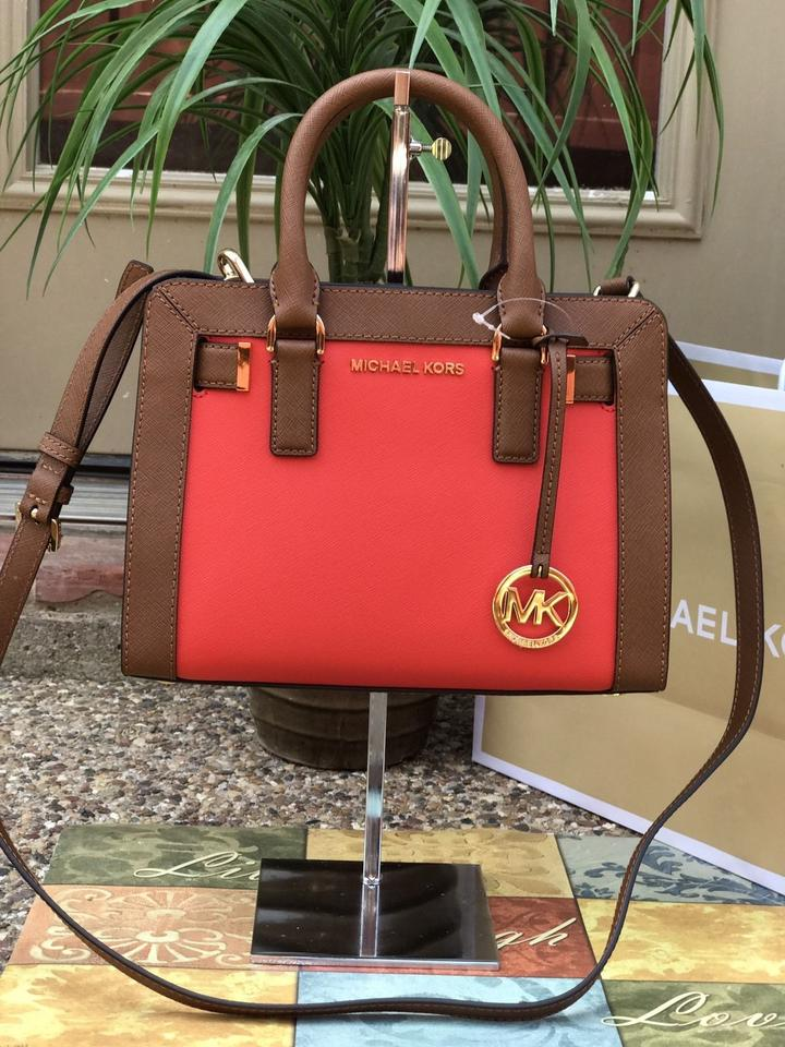 431c590363b4 Michael Kors Dillon Small Monogram Brown Crossbody Strap Satchel in Sienna  Red Luggage Image 6. 1234567