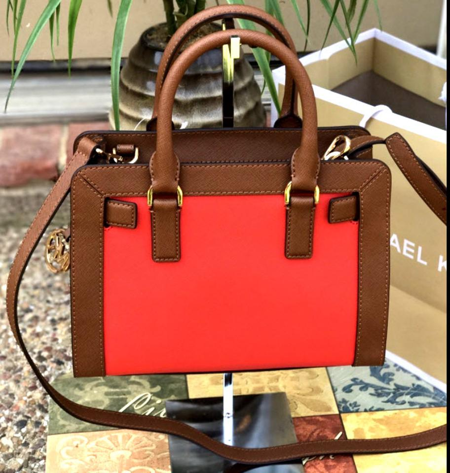 f542feff09d2 Michael Kors Dillon Small Monogram Brown Crossbody Strap Satchel in Sienna  Red Luggage Image 8. 123456789